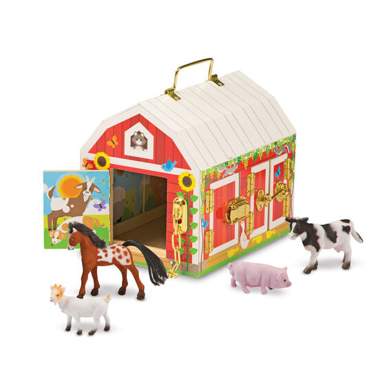 This beautifully crafted sturdy wooden barn from Melissa and Doug features six brass-hinged doors with working latches and locks, and pictures of farm animals on the inside of each door.