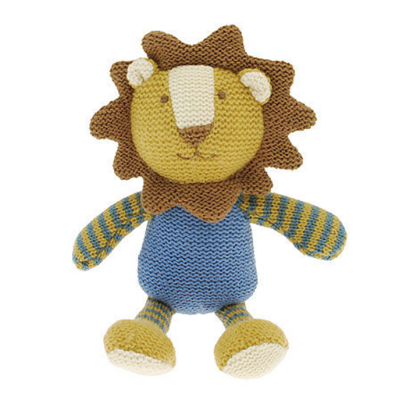 This knitted Lion baby rattle is a fun and friendly rattle for any newborn or young child.