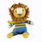 Lenny Lion, a soft toy with a big furry mane and wearing a striped jumper. Knitted in 100% cotton, he is one of our Jungle Friends. Perfect as a gift for babies and children.