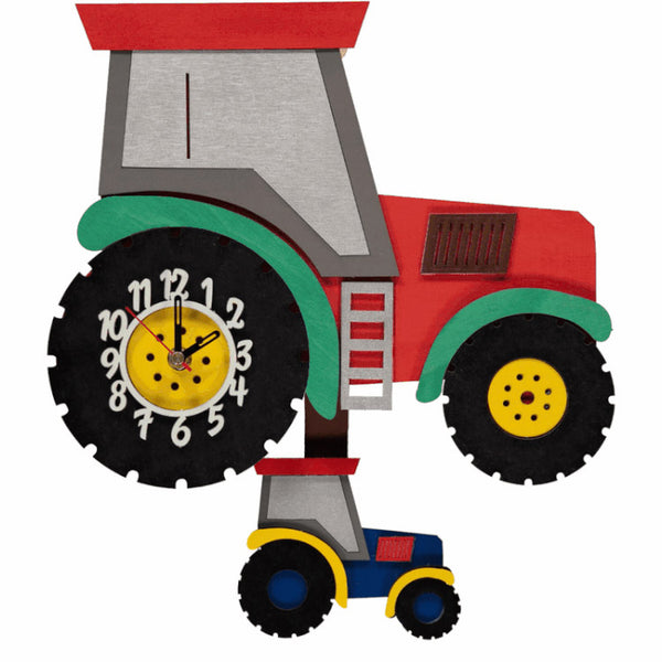 Tractor Red Pendulum Clock - Rooms for Rascals, a Leafy Lanes Retailers Ltd business