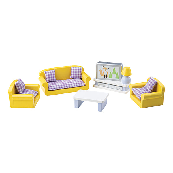 Create the perfect place for your dolls to relax after a long day and even watch TV with this doll's house Living Room furniture set from Bigjigs! Wonderfully detailed and made from Beechwood, this set fits perfectly into most standard sized dolls houses. Little ones will love providing a life-like living room for their doll family. This extensive 9 piece set includes a sofa, two arm chairs, a coffee table, lamp and television with a television shelf plus a DVD box and Freeview box.