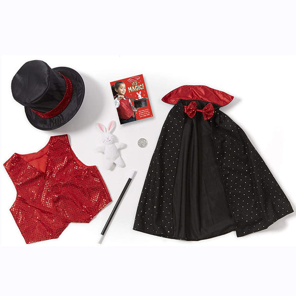 Your little aspiring magician will look the part in this Magician role play set from Melissa and Doug! Prepare to be amazed as your kids make a coin magically appear and disappear from the secret vest pocket or pull a rabbit out of the top hat's hidden compartment.