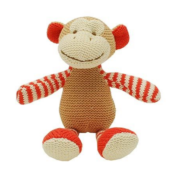 This knitted Monkey baby rattle is a fun and friendly rattle for any newborn or young child.