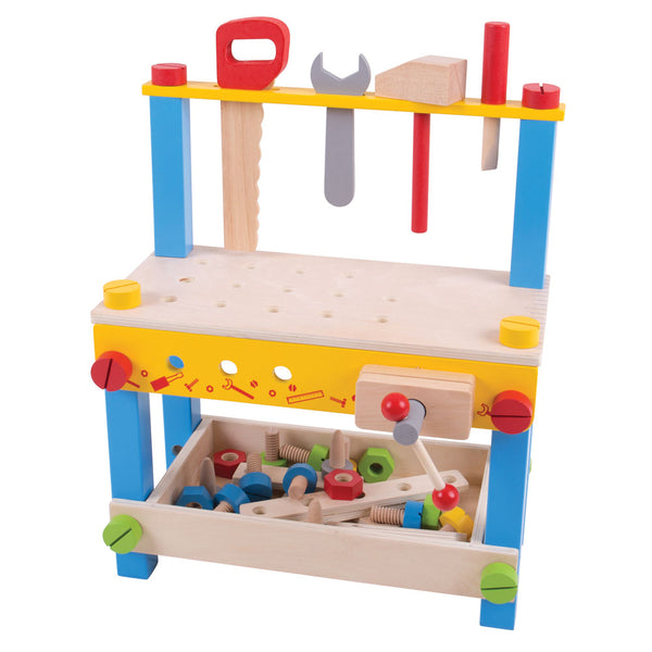 This colourful wooden tool bench is what every young crafter needs! This sturdy workbench includes plenty of wooden features and tools such as a clamp, wrench, nuts & bolts, screwdriver and more!
