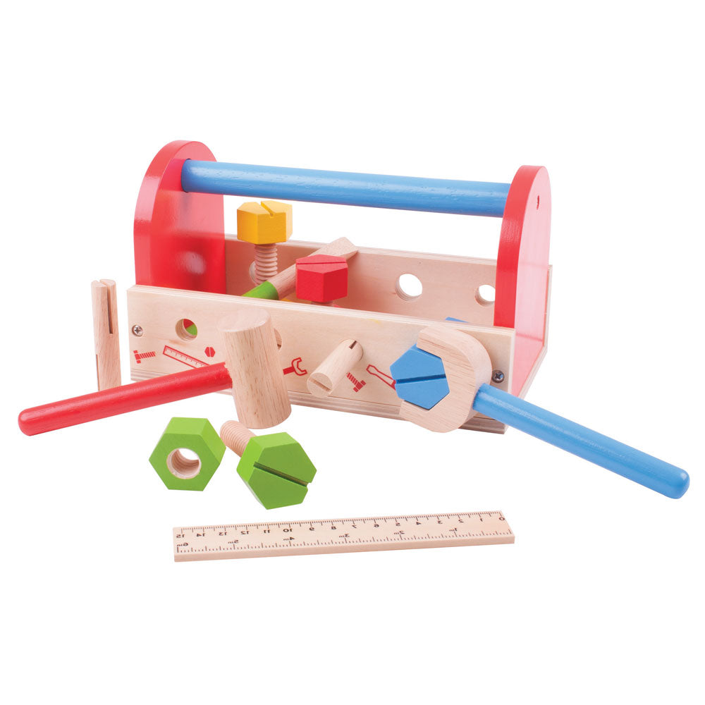 This Tool Box includes everything a young crafter needs to get fixing! The sturdy wooden Tool Box includes a spanner, hammer, nuts and bolts and even a screwdriver and ruler, and has a built in handle making it perfect for travelling!