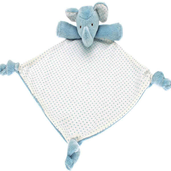 Blue soft fur elephant on a double-sided comforter with cotton spot print on its tummy.  Knotted corners for babies to grip and contrasting fabrics for curious fingers.