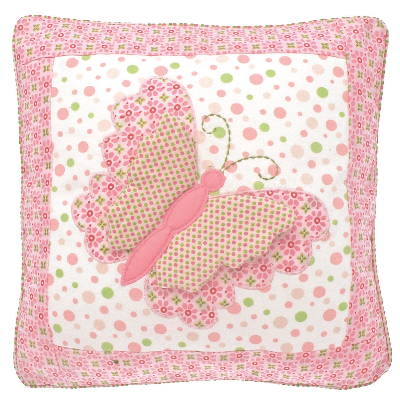 Pretty square cushion with butterfly applique in vintage-inspired pink fabrics. Perfect for a nursery or child's bedroom, 100% cotton removable cover.