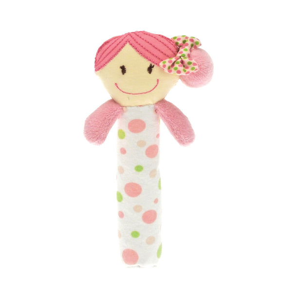 Rattle with Lulu doll on top designed for babies to grab & shake.  A lovely gift for a newborn from our Flutterby collection.