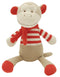 Marcel Monkey, a soft toy with red feet and ears, wearing a striped jumper with a scarf.