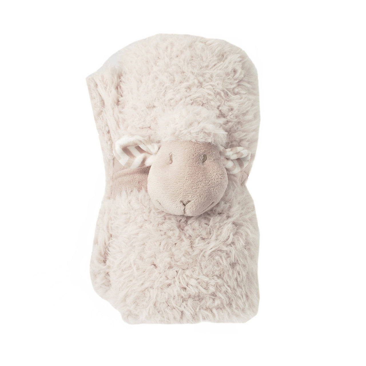 Blanket for a baby or child made from supersoft natural coloured sherpa fleece with a micro mink reverse. Cute lamb wraps round the blanket and fastens with velcro when rolled up.