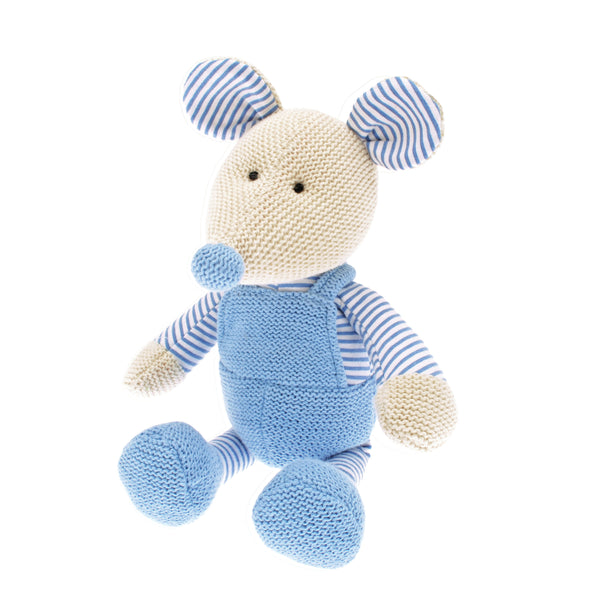 Mrs Mouse is a handsome country mouse. A soft toy with a big friendly face, Dressed in a striped vest under his blue dungarees which are knitted in 100% cotton, he would be a perfect as a gift for babies and children.