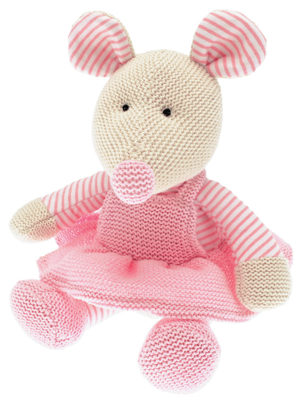 Mrs Mouse is a pretty country mouse. A soft toy with a big friendly face, Dressed in a striped vest under her pink dress knitted in 100% cotton, she would be a perfect as a gift for babies and children.