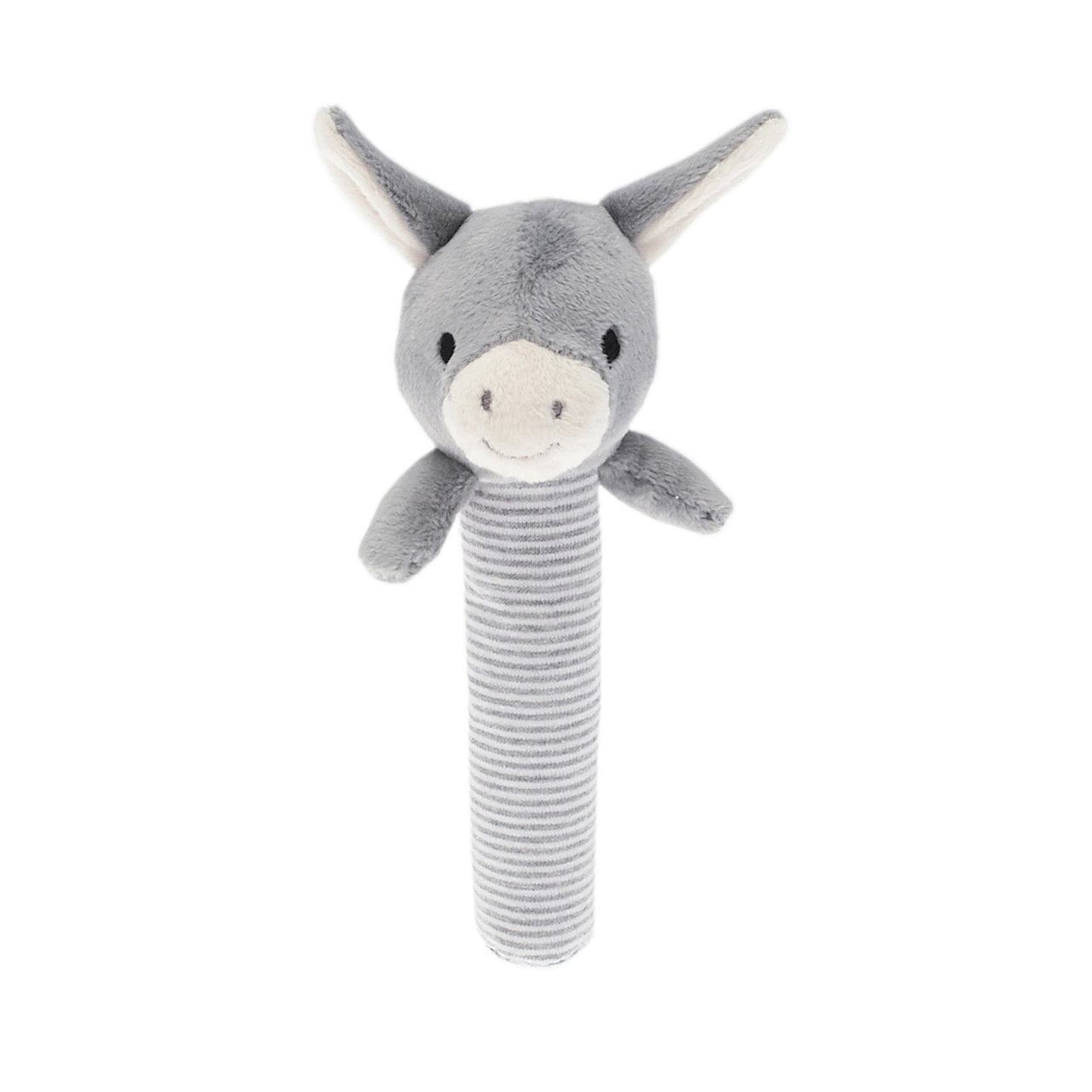 Rattle with Mystery the Donkey. Lightweight with contrasting fabrics of grey plush and grey/white striped jersey with a crinkle handel for curious fingers.