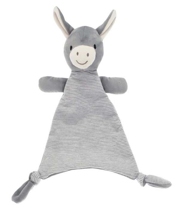 Soft & cuddly grey plush Mystery the Donkey on a double-sided comforter in contrasting fabrics for curious fingers.  Babies love to grip the knotted corners & toy donkey. A lovely gift for a newborn.