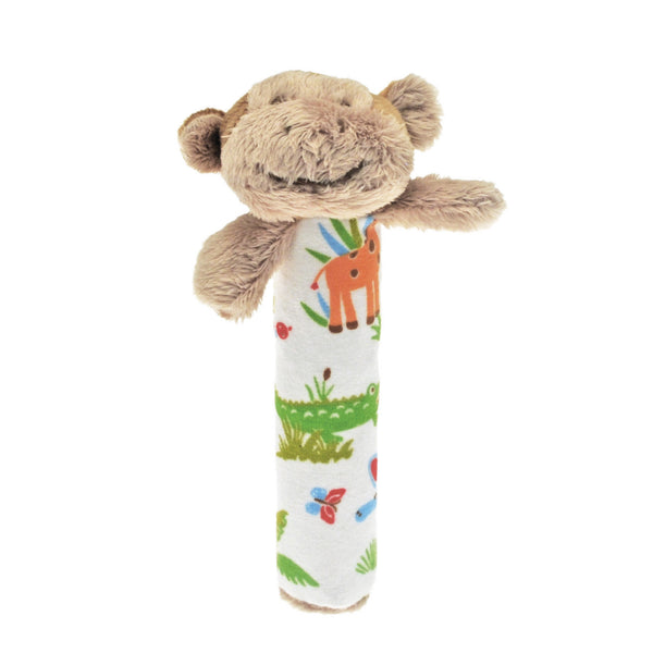 Rattle with Mungo Monkey, designed for babies to grab & shake with a crinkle handle for texture. A lovely gift for a newborn from our Jungle Friends collection.