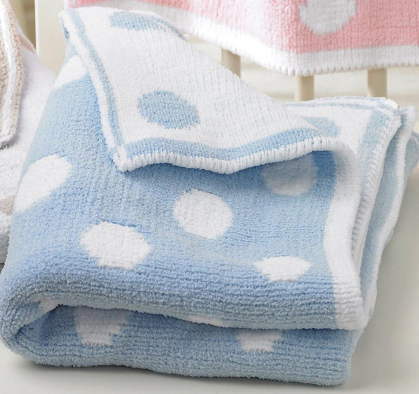 Supersoft reversible spotted baby blanket in blue and white.  Perfect as a playmat or in the pram, young children will love to snuggle up in it too.  A great gift for a new born or baby shower.