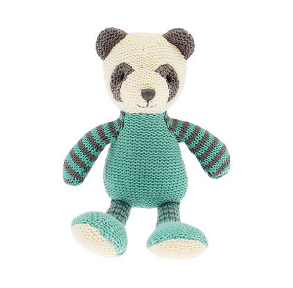 This knitted Panda baby rattle is a fun and friendly rattle for any newborn or young child.