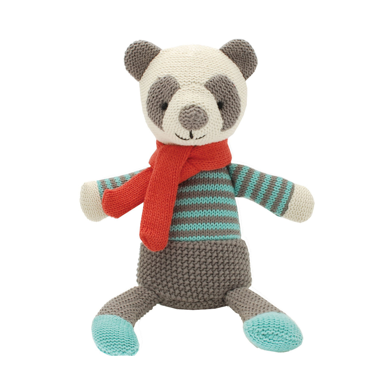 Paddy Panda, a soft toy with a big friendly face, wearing a striped jumper in mint and grey with a bright red scarf.