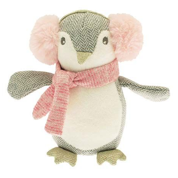 Delightful penguin toy in grey herringbone tweed with a white bib front wearing a  cute pair of large fluffy pink ear muffs and and a scarf.  A lovely gift for a newborn or child.