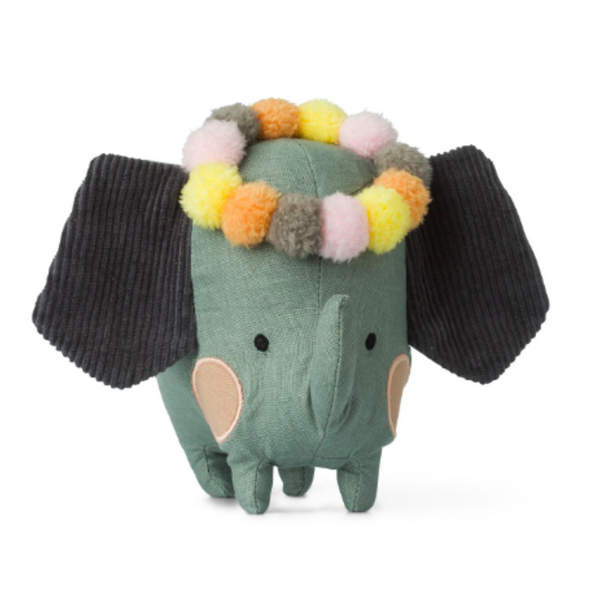 This beautiful grey cotton elephant soft toy with corduroy ears and a colourful  pompom head garland would make a fabulous gift for any occasion. With an adorable face; stitched eyes and round pink cheeks the elephant is ready for the moonlight party with her friends!