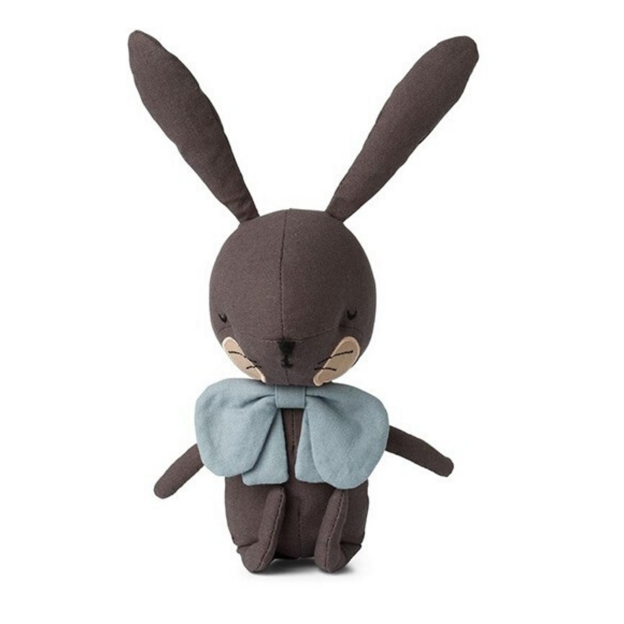 Adorable dark grey cotton fabric rabbit soft toy with a large padded face, long padded ears and beautiful stitched sleepy eyes, nose and whiskers. He's wearing an oversized blue bow tie which makes him a very dapper chap.