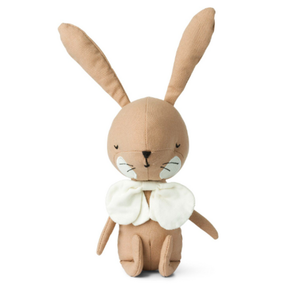 This pink cute and adorable Picca Loulou rabbit is suitable for babies and children and ready to join them on adventures. Featuring calming, contemporary colours, the sweet pink rabbit is detailed with a fabulous white linen bow tie, white cheeks and embroidered eyes, nose and whiskers.
