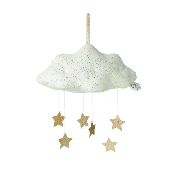 Add a touch of sparkle to your little rascal's nursery or bedroom with this fabulous  hanging cloud mobile from Picca Loulou. This white corduroy cloud-shaped mobile with gold flecks speckled throughout features three rows of dangling stars that will gently move in a soft breeze. Perfect for hanging above a cot, toddler bed, or over the baby changing table.