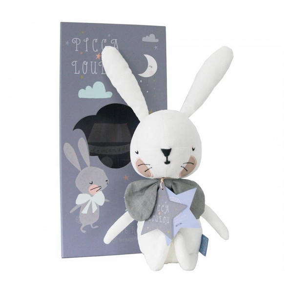Introducing this adorable white plush corduroy rabbit with his large padded friendly face, long ears, and his oversized bow tie. Presented in a very stylish gift box with a recipe included for making cherry sparkle pop for the moon party which is every rabbit's favourite!!