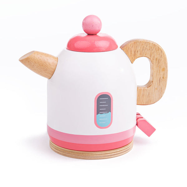 Help your little ones host the perfect tea party with this sturdy wooden pink kettle from Bigjigs. This brightly coloured and beautifully detailed kettle features an easy to grip handle that is perfectly sized for little hands, a lifelike switch to begin boiling the kettle, along with a removable lid. A great way to encourage creative and imaginative role play. Made from high quality, responsibly sourced materials