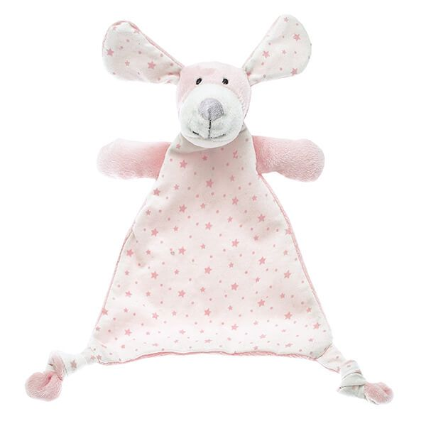 Peaches puppy double-sided comforter in a peachy pink soft plush and jersey printed with stars finished with knotted corners for little fingers to grab.  A lovely gift for a newborn.