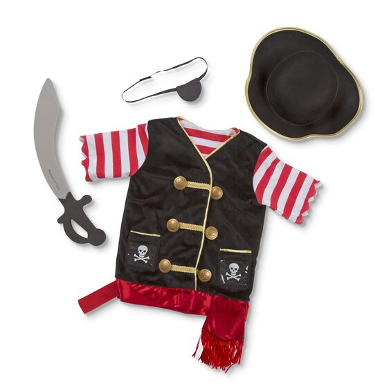 Your little pirate will look the part in this Pirate role play set from Melissa and Doug! They will have everything they need to set sail with this set, including a pirate hat, soft sword and eye patch. High-quality materials ensure durability and safety.