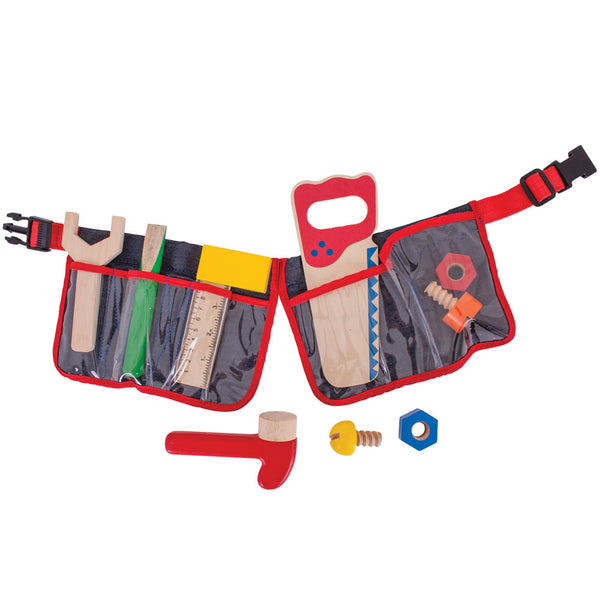 This first Tool Belt from Bigjigs will allow your youngster to get creative while fixing and creating! Each wooden tool is perfectly sized for little hands and is sure to fascinate your youngster. The brightly coloured belt features an adjustable clip to allow your youngster to wear their belt, leaving their hands free for creative role play.