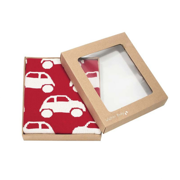 Super soft reversible baby blanket in red & white with a geometric car design knitted from 100% soft combed cotton.