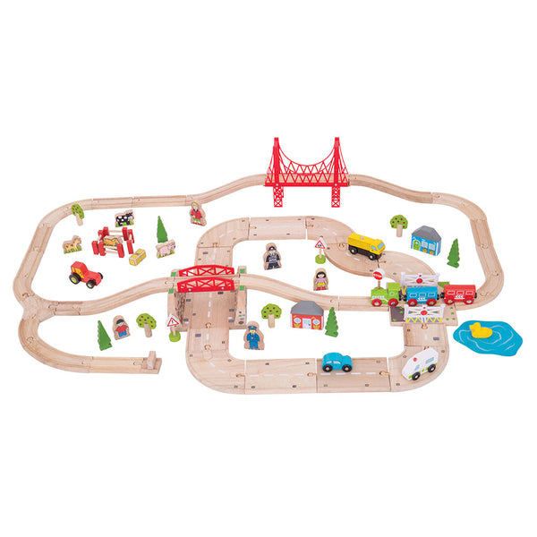 Enjoy the best of both worlds with a wooden rail and road transport systems all in one set! The two lane roadway passes under the track and through a level crossing, while the train and brightly coloured carriages head out to the countryside. Includes farmyard animals, vehicles, trees and town and country folk aplenty. Consists of 80 play pieces.  Made from high quality, responsibly sourced materials.