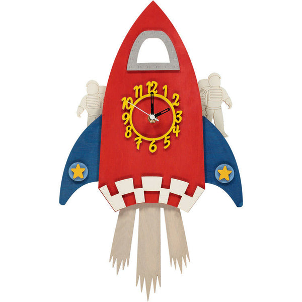 Brightly coloured and fun handmade wooden rocket clock with a swinging astronaut pendulum, perfect for a Space-themed bedroom. We know how important it is to have no noise while your child is sleeping so it is fitted with a silent sweeping system.