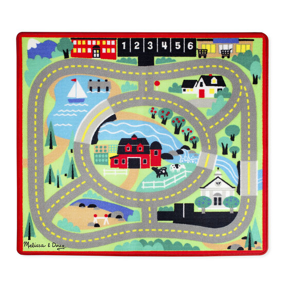 This colorful fun road rug from Melissa and Doug comes with four colorful wooden cars to drive on looping streets and lanes.