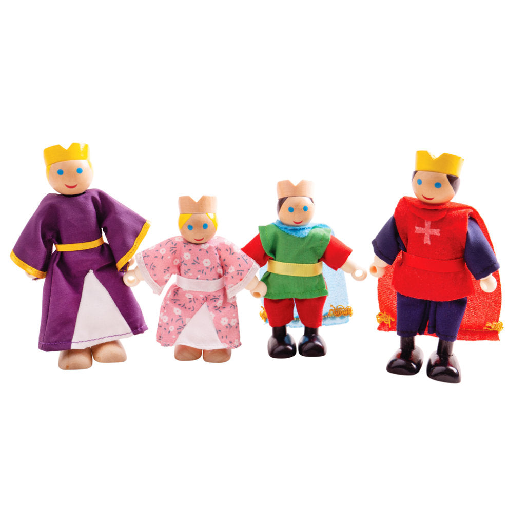 A Fairytale Palace wouldn't be complete without the Bigjigs Toys Wooden Royal Family! This doll set includes 2 generations of the Royal Family including King, Queen, Princess and Prince.