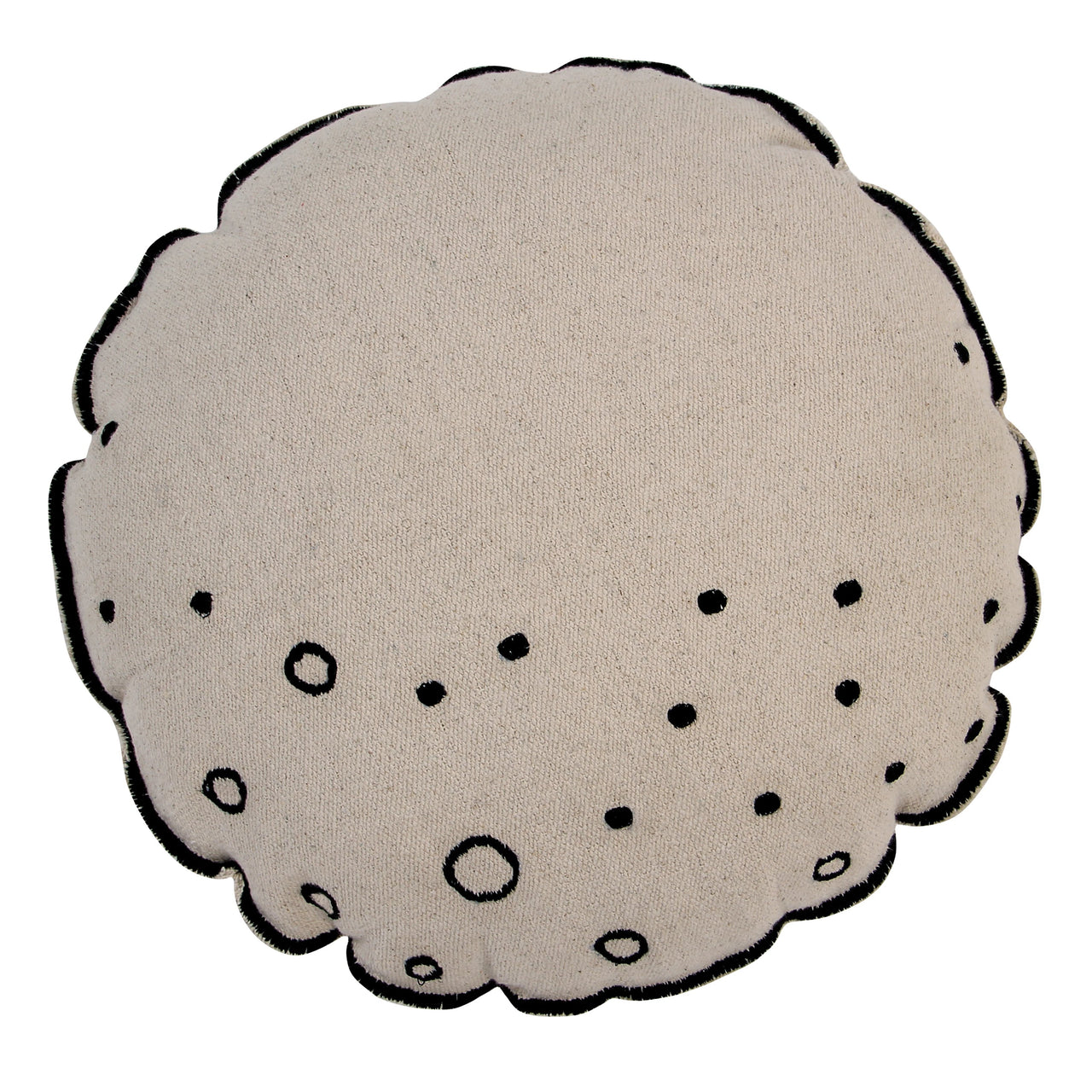 Inspired by the moon, this round cushion has an irregular border. Embroidered on the base of the cushion are circles that resemble craters on the moon.