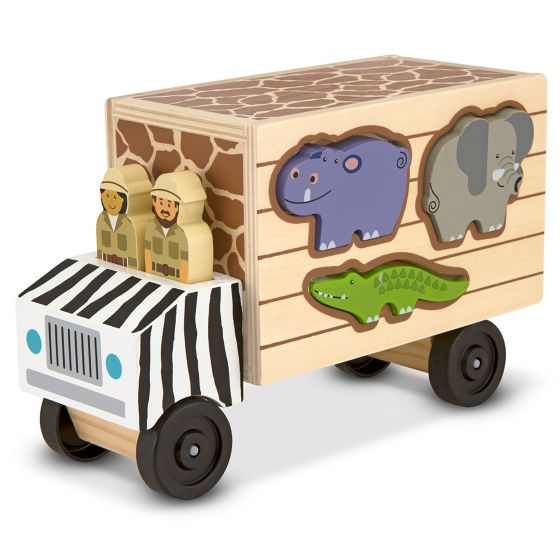 Animal rangers to the rescue! With this rugged safari truck, two cheerful people are ready to zoom across the savannah to help their animal friends. The alligator, zebra, rhinoceros, elephant, giraffe, hippopotamus, and lion fit into the sides of the wooden truck through die-cut slots, so this exciting toy is perfect for imaginative play and fine motor skills .