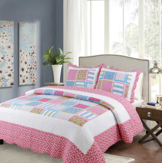 Flowery Quilted Bedspread Set