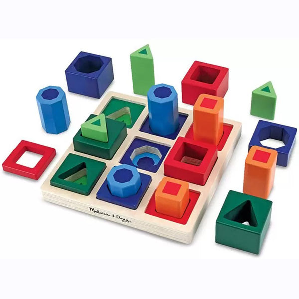 This brightly coloured wooden shape sorter from Melissa and Doug is the perfect puzzle to teach kids all about the different shapes and sizes!