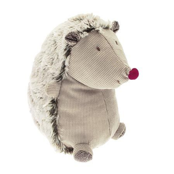 Spikey the Hedgehog soft toy made of corduroy and supersoft fur with a red nose. Freestanding as he sits on his bottom. A soft toy with a big friendly face. He would be a perfect as a gift for babies and children. Cover 80% Polyester, 20% Cotton, Filling 100% Polyester.