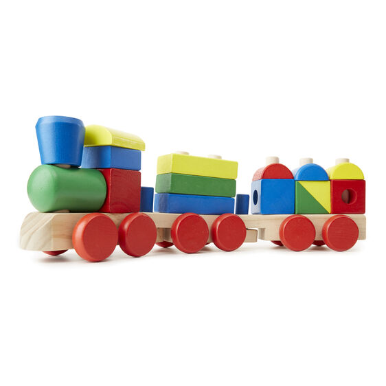 Load up Melissa and Doug's stacking train with bright, colorful shapes and get learning off to a rolling start! The 15 easy-to-grasp wooden blocks slot onto rods on the flatcars, providing a great opportunity to practice fine motor skills.