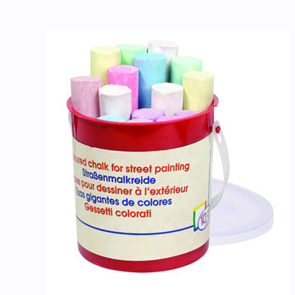 Get Creative with this bucket of chalk including 15 different colours!