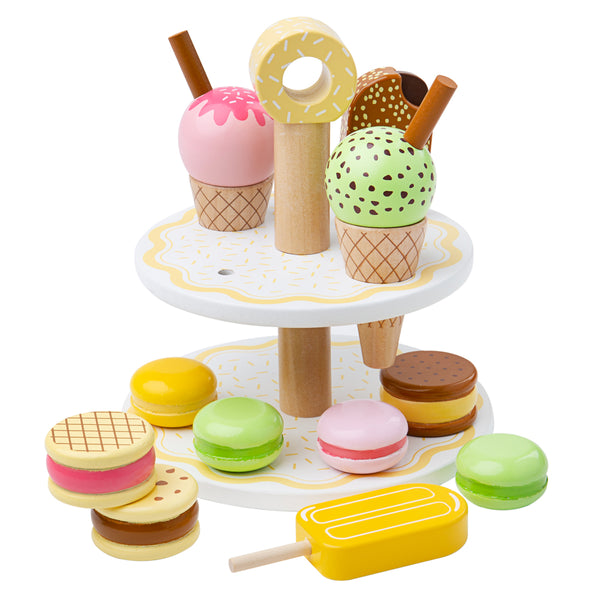 Serve up the perfect afternoon tea with this delicious set of Sweet Treats from Bigjigs. This play food is designed to inspire and educate and provide endless hours of fun Supplied with a wooden stand, perfect for serving and displaying in a pretend play shop.