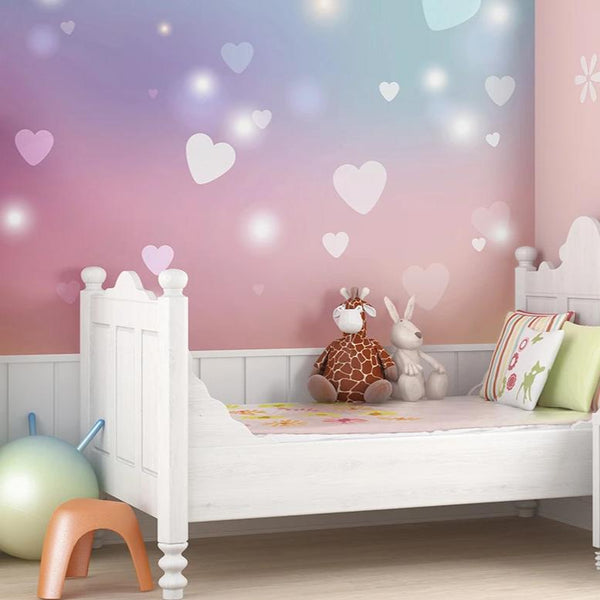 Create a stunning feature wall in any room of your home with the sweets hearts wall mural.  Pretty in pink and blue, a restful and calm colour palette with floating hearts, this charming design is perfect for any little girl's room.