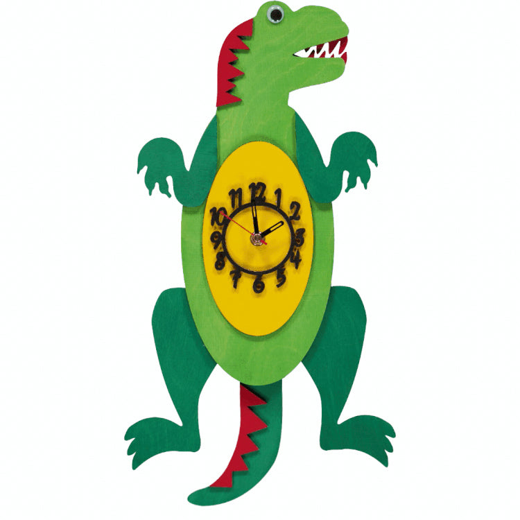 A fun handmade hanging green T-Rex wooden dinosaur clock with a swinging tail pendulum.