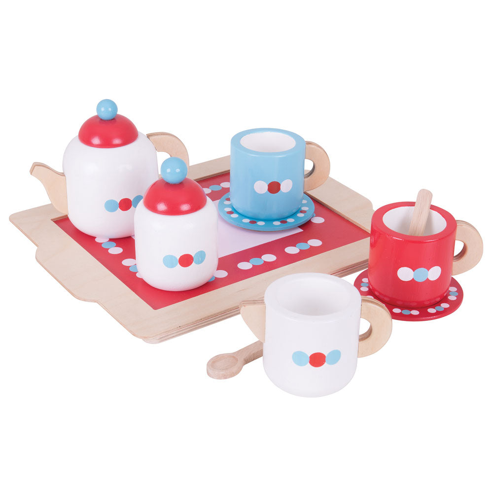 Little ones can put their hosting skills to work with the Bigjigs Toys wooden Tea Set and Tray. This wooden playset has everything they need to host the perfect tea party: a teapot with lid, 2 wooden cups and saucers, sugar pot with lid, 2 wooden spoons, a milk jug and tray.