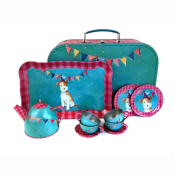 This tea set includes a case, 4 cups and saucers, plates, teapot and tray.  Beautifully designed with bright colours and an illustrations of a puppy and garlands on both the case and the tea set inside.