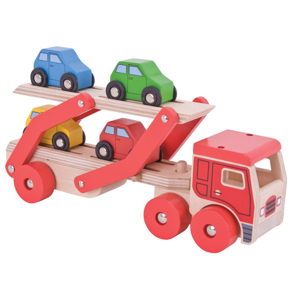 This brightly coloured wooden Transporter Lorry push along from Bigjigs is perfect for developing dexterity and co-ordination. It carries a load of four colourful wooden cars. The upper deck can be easily lowered to allow each vehicle to drive on and off and grooves in the surface help to keep each car in place as they're transported to their destination. Made from high quality, responsibly sourced materials.